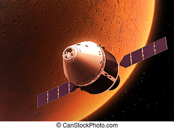 Spacecraft Orbiting Red Planet Realistic 3D Illustration