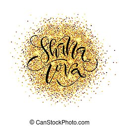 Hand sketched Shana Tova (Happy New Year) text as logotype,...