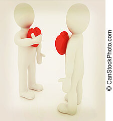 3d mans holding his hand to his heart Concept: quot;From the...