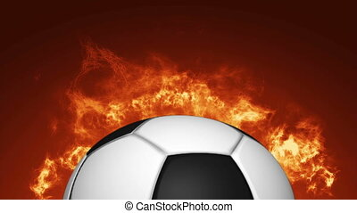 Animation realistic Soccer ball on fire