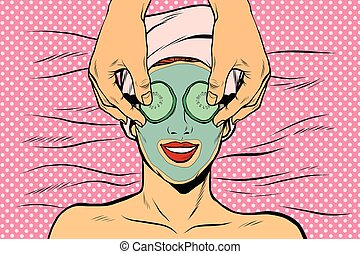 Woman with fruit beauty mask, pop art retro vector...