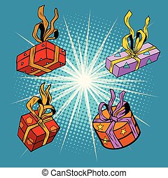 Set boxes with gifts, pop art retro vector illustration...