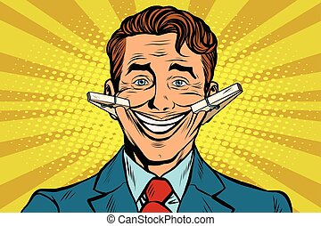 The false smile face with clothespins, pop art retro vector...