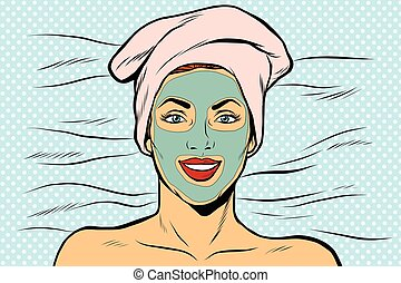 Woman with cosmetic mask on face