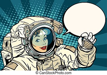 OK gesture female astronaut in a spacesuit, pop art retro...