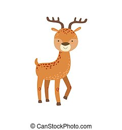 Brown Spotter Deer With Antlers Stading Stylized Cute...