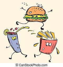 Fast food: french fries, soda, burger
