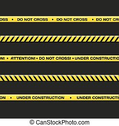Vector police line. Do not cross, under construction. -...