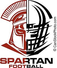 spartan football team design with helmet for school, college...