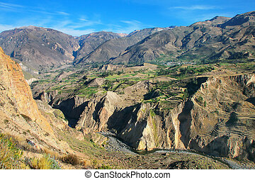 View of Colca Canyon in Peru It is one of the deepest...