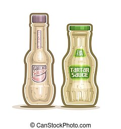 Vector logo Tartar and Garlic Sauce Bottles, container with...
