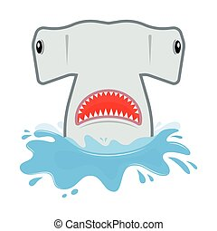 hammerhead shark with open mouth. He jumps out of water,...
