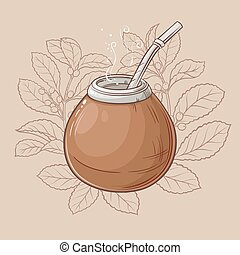 mate in calabash with bombilla - Illustration with mate tea...