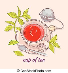 cup of tea with spoon and strainer - vector illustration...