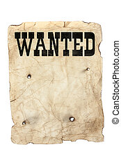 wanted poster and bullet holes - antique style yellow old...