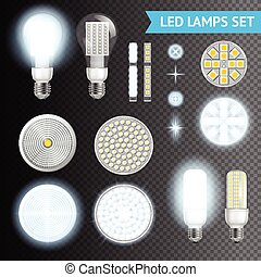 Led Lamps Transparent Set - Realistic turned on and off led...