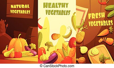 Organic Vegetables Vertical Banners Cartoon Poster