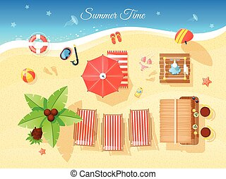 Summer Time Top View Illustration - Summer time top view...