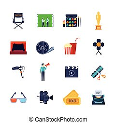Filmaking Attributes Flat Icons Collection - Filmmaking and...