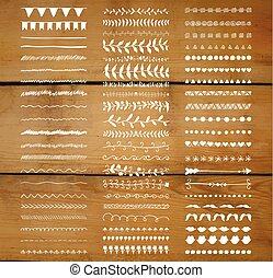 Vector Decorative Hand Drawn Dividers, Line Borders - Set of...