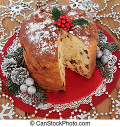 Panettone Cake - Christmas panettone sweet bread cake with...
