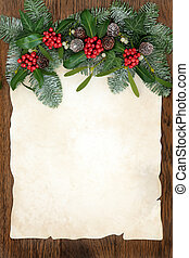 Traditional Winter Greenery Border