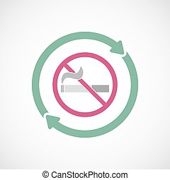 Isolated reuse icon with a no smoking sign - Illustration of...