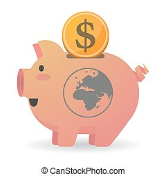 Isolated piggy bank icin with an Asia, Africa and Europe...