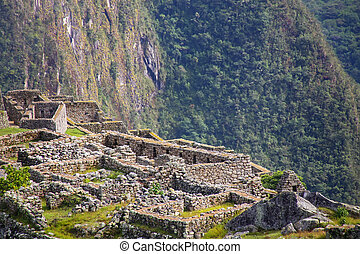Close view of the ruins at Machu Picchu citadel in Peru.