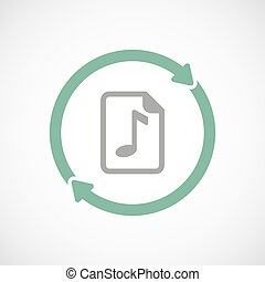 Isolated reuse icon with a music score icon - Illustration...