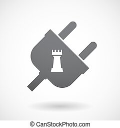 Isolated male plug with a rook chess figure - Illustration...