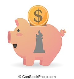 Isolated piggy bank icin with a bishop chess figure -...