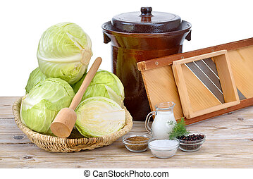 Food fermentation, preparation for making sauerkraut: German...