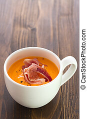 cold soup with smoked meat