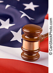 Gavel and the U.S. flag