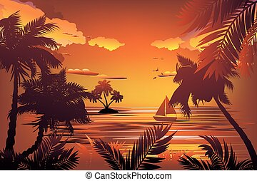 Tropical Island at Sunset