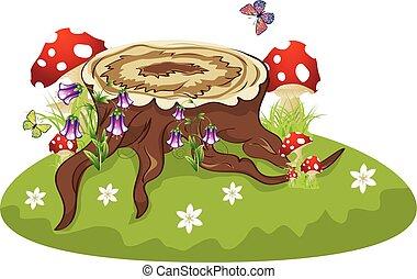 Tree Stump and Mushrooms - Old tree stump with mushrooms and...