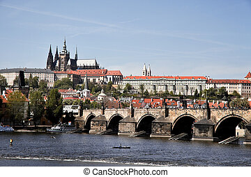 Prague, Charles Bridge with Prague Castle and Hradcany -...