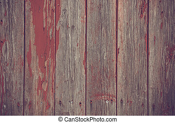 Wooden planks background with red paint