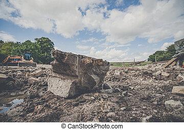 Big rock at a construction site