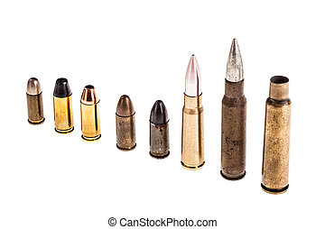 Various bullets on white - different type of bullets...