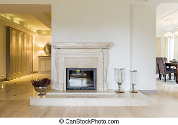 Classic beauty of a marble moulded mantel - Beautifully...