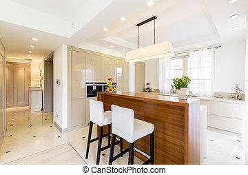 Contemporary luxurious kitchen design in bright colours -...