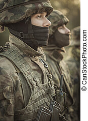 Discipline in an army - Close shot of young soldier in...