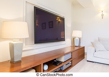 Impressive lounge room with high-end stereo unit - Bright...