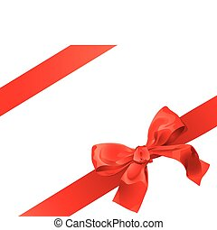 Gift Bow - Red Gift Bow Isolated Over White Background
