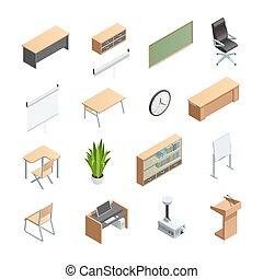 Classroom Interior Elements Icons Set - Isometric icons set...