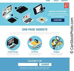 gráfico, diseño, plantilla, para, sitio web
