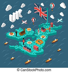 Great Britain Touristic Isometric Map - Great britain...