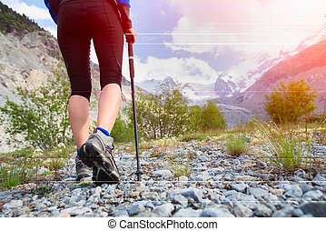 Nordic walking in the high mountains
